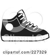 Royalty Free RF Clipart Illustration Of A Black And White Hi Top Sneaker by Johnny Sajem
