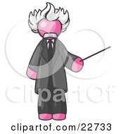 Pink Man Depicted As Albert Einstein Holding A Pointer Stick