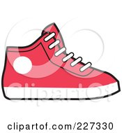Royalty Free RF Clipart Illustration Of A Red And White Hi Top Sneaker by Johnny Sajem