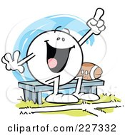 Royalty Free RF Clipart Illustration Of A Moodie Character Sitting By A Football On A Bench And Cheering by Johnny Sajem