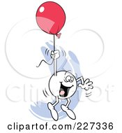 Royalty Free RF Clipart Illustration Of A Happy Moodie Character Holding Onto A Red Balloon And Flying Away
