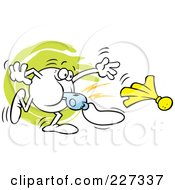 Royalty Free RF Clipart Illustration Of A Moodie Character Blowing A Whistle And Tossing A Penalty Flag