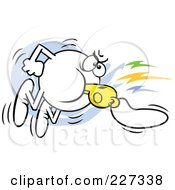 Royalty Free RF Clipart Illustration Of A Moodie Character Angrily Blowing A Whistle by Johnny Sajem