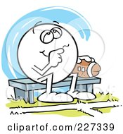 Royalty Free RF Clipart Illustration Of A Dreamy Moodie Character Sitting On A Bench With A Football by Johnny Sajem