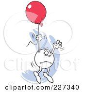 Royalty Free RF Clipart Illustration Of A Fearful Moodie Character Holding Onto A Red Balloon And Flying Away