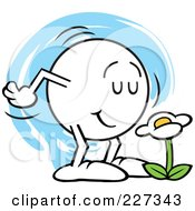 Royalty Free RF Clipart Illustration Of A Moodie Character Smelling A Flower