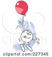 Royalty Free RF Clipart Illustration Of A Cautious Moodie Character Holding Onto A Red Balloon And Flying Away by Johnny Sajem