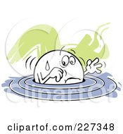 Royalty Free RF Clipart Illustration Of A Moodie Character Up To His Elbows In Water
