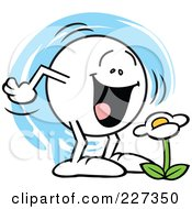 Royalty Free RF Clipart Illustration Of A Moodie Character Smiling At A Daisy