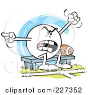 Moodie Character Sitting By A Football On A Bench And Complaining