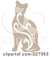 Royalty Free RF Clipart Illustration Of A Beige Vintage Styled Cat With Swirls 1 by Cherie Reve