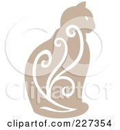 Royalty Free RF Clipart Illustration Of A Beige Vintage Styled Cat With Swirls 3 by Cherie Reve