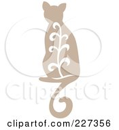 Royalty Free RF Clipart Illustration Of A Beige Vintage Styled Cat With Swirls 2 by Cherie Reve