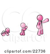 Pink Man In His Growth Stages Of Life As A Baby Child And Adult