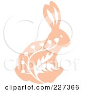 Royalty Free RF Clipart Illustration Of A Vintage Styled Rabbit With White Floral Designs 2 by Cherie Reve