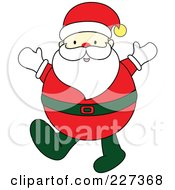 Royalty Free RF Clipart Illustration Of A Chubby Santa Holding Up His Hands
