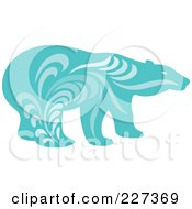 Royalty Free RF Clipart Illustration Of A Blue Polar Bear With Vintage Swirl Designs by Cherie Reve