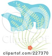 Royalty Free RF Clipart Illustration Of A Flower With Leaves Growing Up Into Polar Bears by Cherie Reve