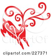 Royalty Free RF Clipart Illustration Of A Red Reindeer With Swirl Designs 2 by Cherie Reve