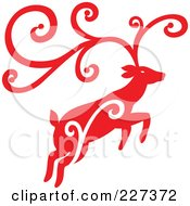 Royalty Free RF Clipart Illustration Of A Red Reindeer With Swirl Designs 4