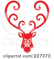 Royalty Free RF Clipart Illustration Of A Red Reindeer With Swirl Designs 1