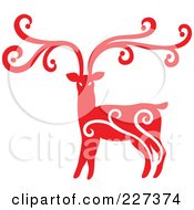 Royalty Free RF Clipart Illustration Of A Red Reindeer With Swirl Designs 6