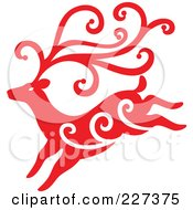 Royalty Free RF Clipart Illustration Of A Red Reindeer With Swirl Designs 3 by Cherie Reve