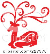 Royalty Free RF Clipart Illustration Of A Red Reindeer With Swirl Designs 5 by Cherie Reve