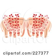 Royalty Free RF Clipart Illustration Of An Elephant Pair With Heart Vines by Cherie Reve