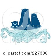 Royalty Free RF Clipart Illustration Of A Cute Sea Otter Family Above Waves by Cherie Reve