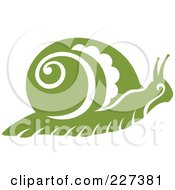 Green Snail With Vintage Swirl Designs