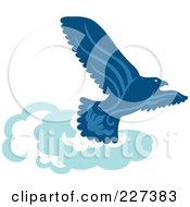 Royalty Free RF Clipart Illustration Of A Blue Eagle Soaring Above Clouds