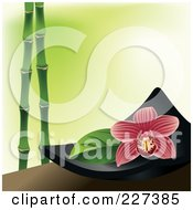 Royalty Free RF Clipart Illustration Of A Red Striped Orchid Flower On A Black Spa Bowl Over Green With Bamboo