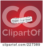 Royalty Free RF Clipart Illustration Of A Cut Out Piece Of Happy New Year Paper On Gradient Red