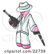 Pink Gangster Man Carrying A Gun And Leaning On A Cane