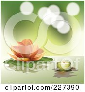 Royalty Free RF Clipart Illustration Of A Pastel Orange Lotus And Lily Pad With A Green Tea Light Candle On Green by Eugene