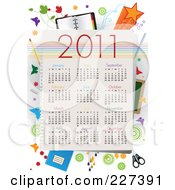 Royalty Free RF Clipart Illustration Of A 2011 Year Calendar With School Items Butterflies And Grunge