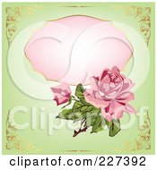 Royalty Free RF Clipart Illustration Of A Pink Rose Over A Pink Framce On Green With Golden Corner Borders