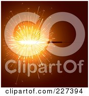 Royalty Free RF Clipart Illustration Of A Sparkler With Oranage Light Over Orange by Eugene