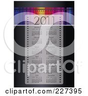 Royalty Free RF Clipart Illustration Of A 2011 Year Calendar Over Black With A Colorful Border On Top