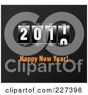 Royalty Free RF Clipart Illustration Of A Counter Turning To 2011 With Orange Happy New Year Text On Diagonal Stripes