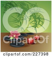 Royalty Free RF Clipart Illustration Of A Red Striped Orchid On Spa Stones With Candles Over Bamboo by Eugene
