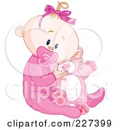 Royalty Free RF Clipart Illustration Of A Cute Baby Girl In Pajamas Sucking On A Pacifier And Holding A Teddy Bear