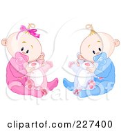 Cute Baby Twins In Pajamas Sucking On Pacifiers And Holding Teddy Bears
