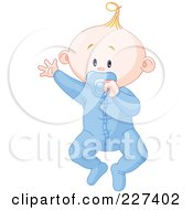 Royalty Free RF Clipart Illustration Of A Cute Baby Boy In Pajamas Waving And Sucking On A Pacifier