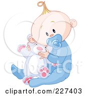 Royalty Free RF Clipart Illustration Of A Cute Baby Boy In Pajamas Sucking On A Pacifier And Holding A Teddy Bear