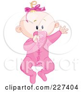 Royalty Free RF Clipart Illustration Of A Cute Baby Girl In Pajamas Waving And Sucking On A Pacifier