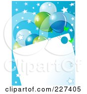 Blank Frame Bordered With Blue And Green Balloons Butterflies And Stars On Blue