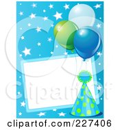 Blank Frame Bordered With A Blue Party Hat Balloons And Stars On Blue