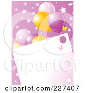 Blank Frame Bordered With Pink And Yellow Balloons Butterflies And Stars On Pink